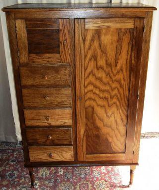 Antique Oak Chifferobe Wardrobe/ Cabinet/ Dresser With Bonnet photo