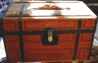 Fantastic Antique Doll Trunk Or ?? Condition Name On End St.  John Osage Ia photo