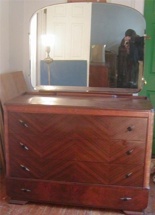 Large Art Deco Dresser With Mirror - - photo