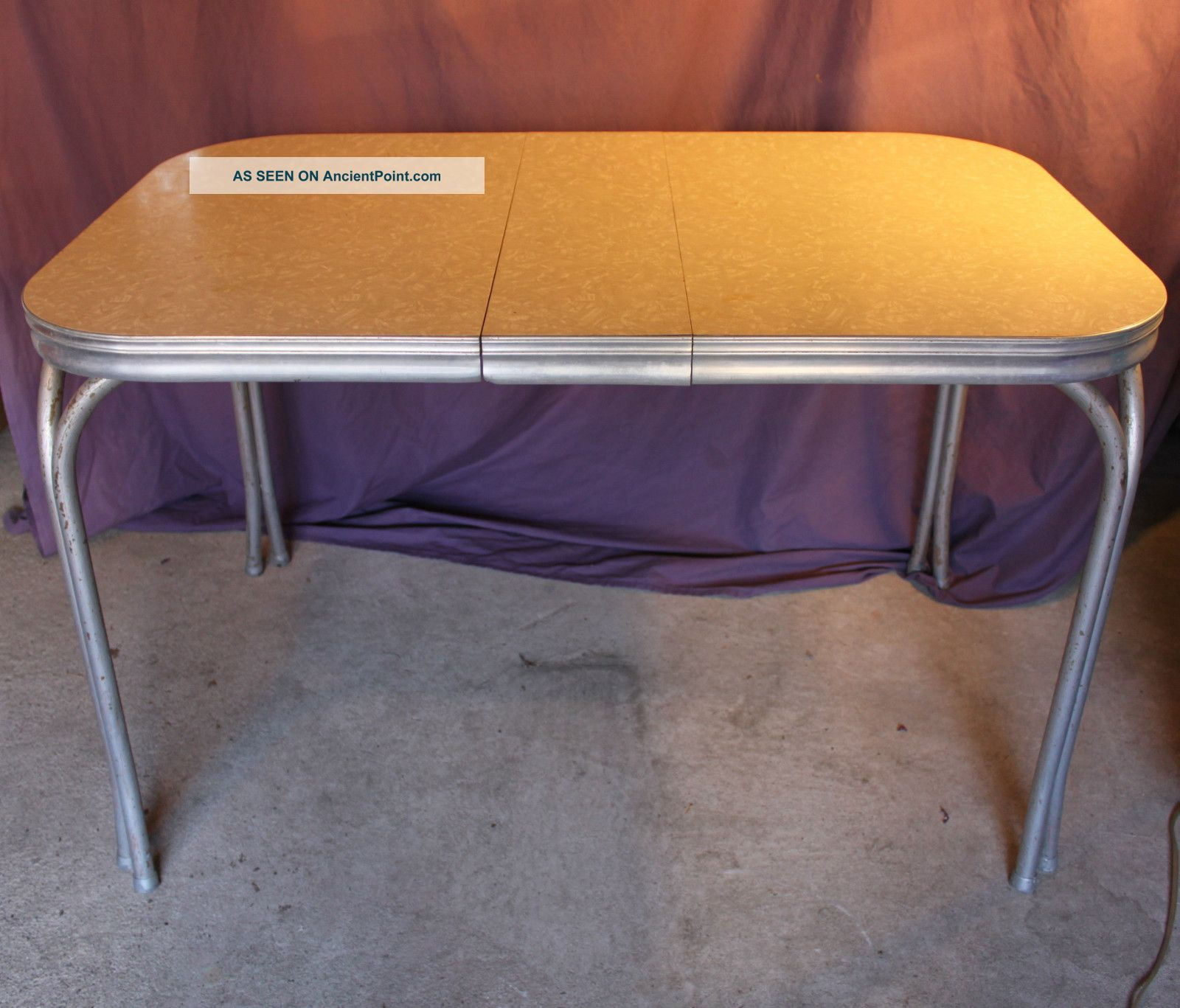 Vintage Retro 1950 S Mid Century Diner Kitchen Table Formica Silver Metal Chrome