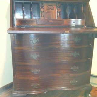 Antique Mahogany Secretary Cabinet With Drop Down Desk & Claw Feet photo