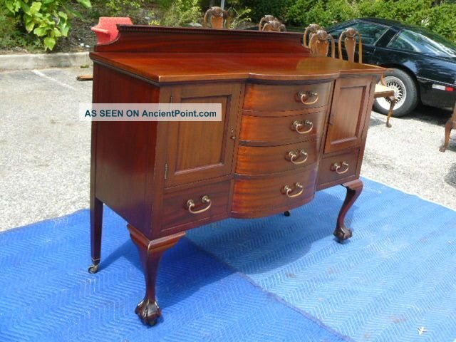 Antique 19c Mahogany Chippendale Flint Horner Sideboard Server Brandy Board 1800-1899 photo