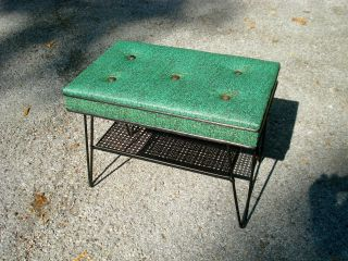 Mid Century Modern Patio Outdoor Bench With Hairpin Legs photo