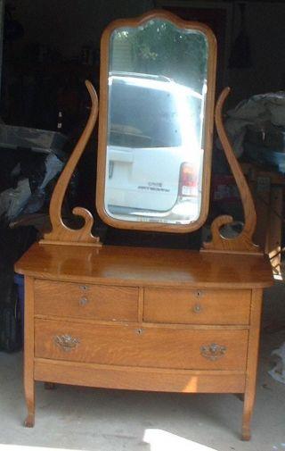 Antique Golden Oak Dresser With Mirror photo