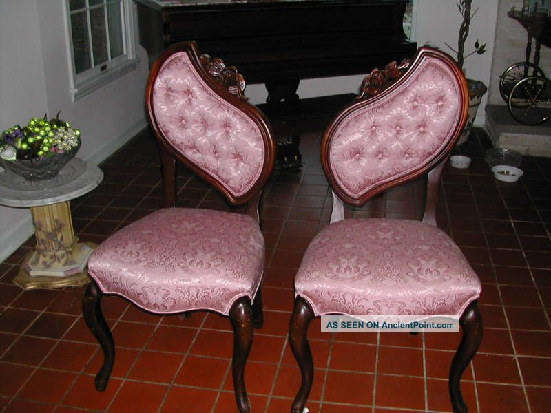 Vintage Carved Victorian Chairs New Damask Upholstery Post-1950 photo