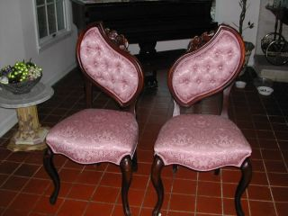 Vintage Carved Victorian Chairs New Damask Upholstery photo