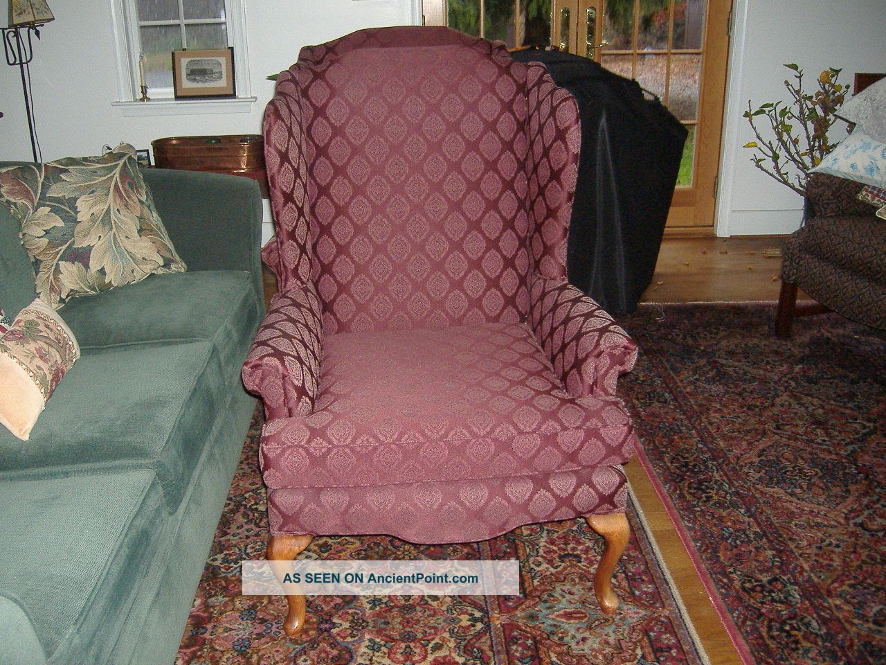 Pair Of Tall Living Room Queen Anne Wing Chairs By Sam Moore Best Offer Accepted Post-1950 photo
