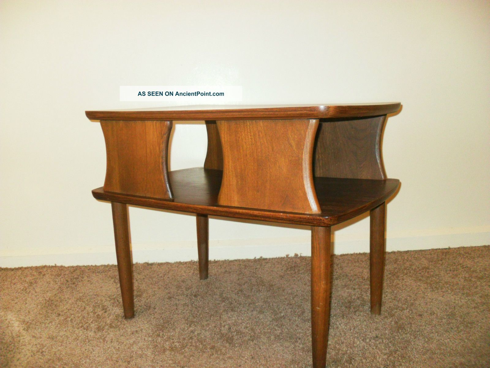 mid century modern dark walnut danish style side table eames