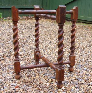 Folding Antique Oak Barley Twist Table Legs Turned Stretchers - Fit 14½