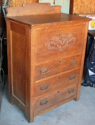 Exceptional Antique Oak Chest Of Drawers W/built - In Cedar Chest - A Money Maker photo