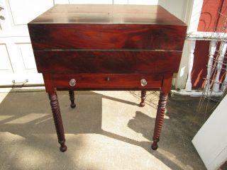 Antique 1800 ' S Walnut Postal Drop Front Desk Twist Legs Rare Square Top photo