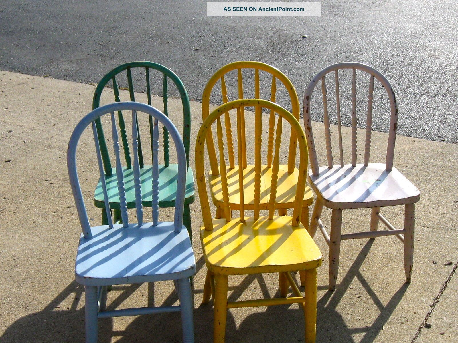Five Bentwood Children ' S Chairs W/ Some Turned Spindles Some Replaced Painted Post-1950 photo