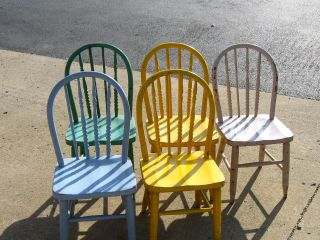 Five Bentwood Children ' S Chairs W/ Some Turned Spindles Some Replaced Painted photo