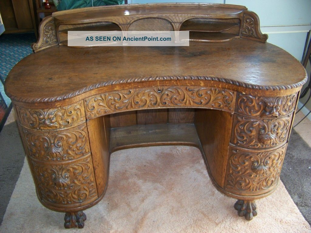 Vintage Hand Carved Tiger Oak Wood Desk With Lion Claw Feet. . . Early 1900 - Furniture - Desks & Secretaries - 1900-1950 Antiques Browser