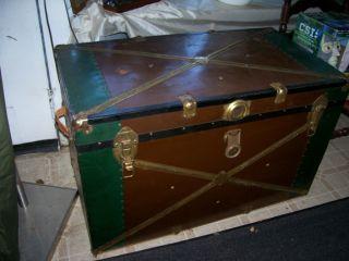 Vintage Metal Flat Top Trunk photo