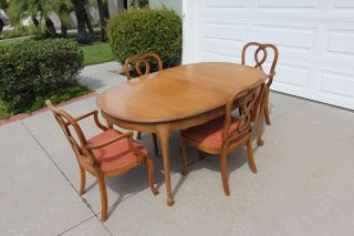 Vintage 1960 ' S Bernhardt Style Dining Room Set - Table,  Chairs,  Pad photo