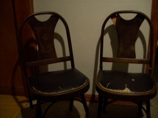 Vintage Chairs Folding Wooden/leather Cushioned Seat Pair Of Kumfort Pat.  1925 - 27 photo