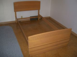 Lot 1 Vintage 1960s Heywood Wakefield Champagne 770 Solid Wood Twin Bed Nr photo