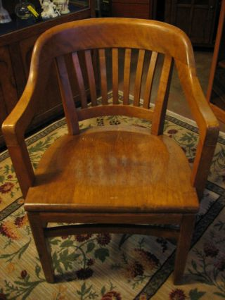 1958 Gunlocke Wooden Court/office Chair.  Brass Medallion.  Great Comfort & Style photo