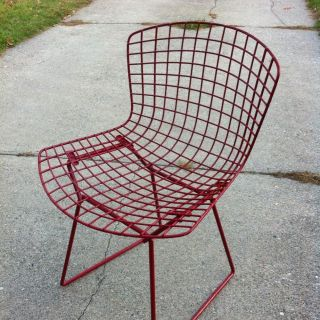 Mid Century Vintage Knoll Harry Bertoia Side Chair Red Eames Era photo