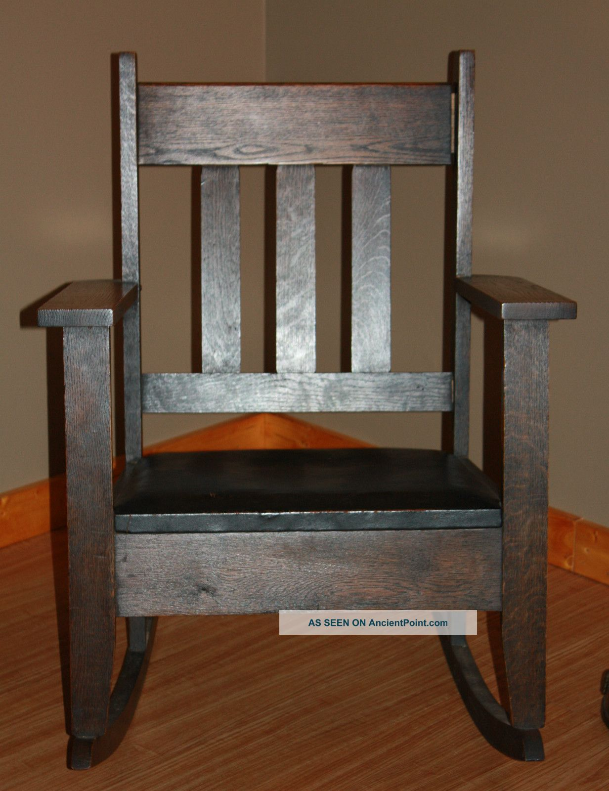 Arts & Crafts Mission Oaks Rocker/chair W Blk Leather Seat/finish Post-1950 photo