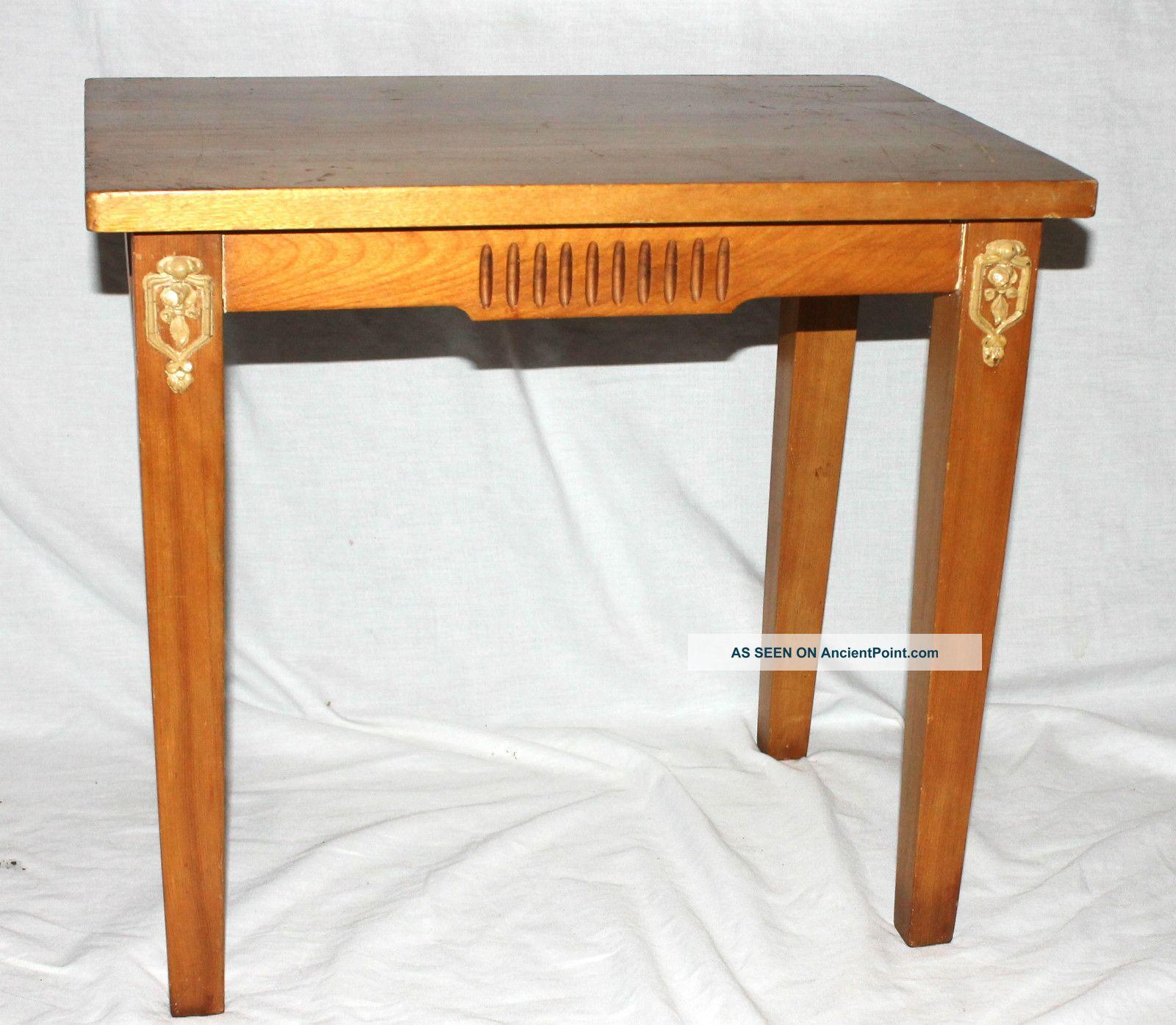 Vintage wood side accent end table gesso decorative trim 1900 1950