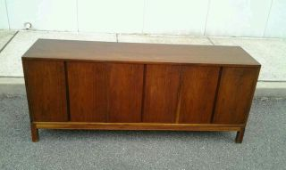 1960 ' S Mid - Century Modern Long Walnut Credenza photo
