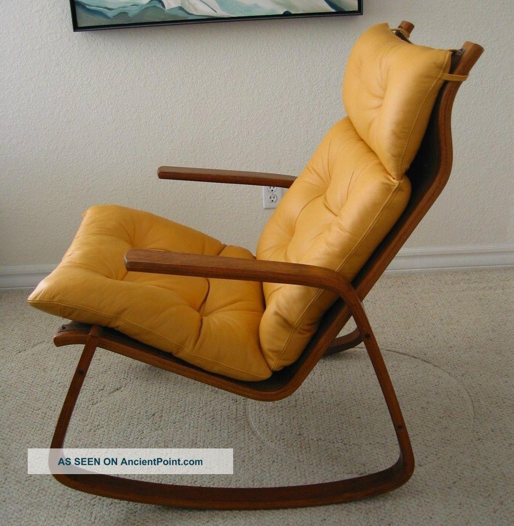 Danish Modern Teak - Like Supple Leather Rocker Rocking Chair Post-1950 photo