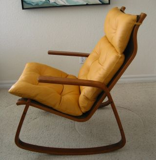 Danish Modern Teak - Like Supple Leather Rocker Rocking Chair photo