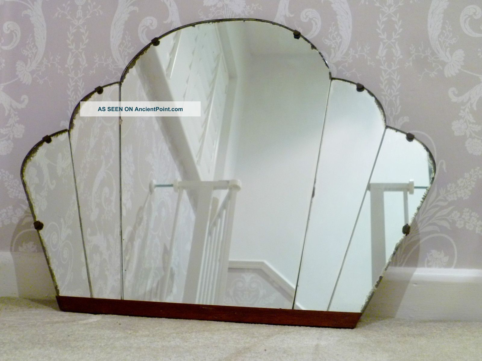 1920 ' S Art Deco Cloud Panelled Wall Mirror - Sunburst Vintage 20th Century photo