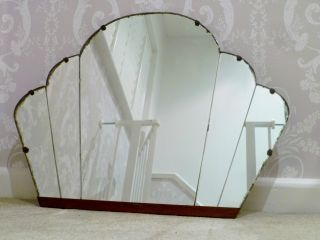 1920 ' S Art Deco Cloud Panelled Wall Mirror - Sunburst Vintage photo