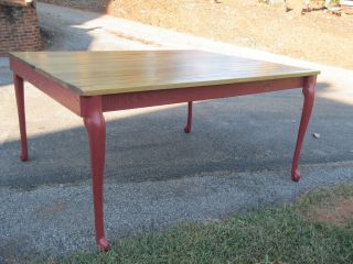 Antique Primitive Oak Farm Table Refinished & One Of A Kind Over 5 Feet Long photo