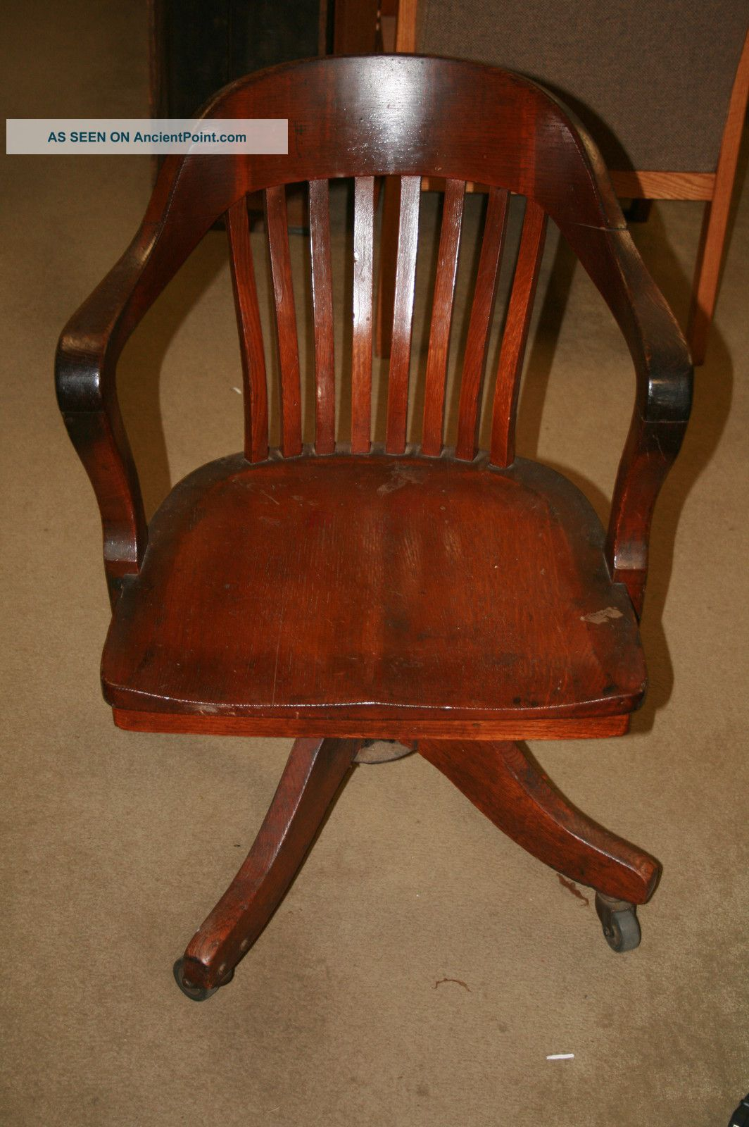Vintage Antique Oak Desk Chair Lawyer Office Sheybogan Crocker Co ...