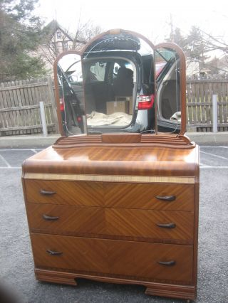 Gorgeous Art Deco Vanity Dresser With Etched Mirror photo