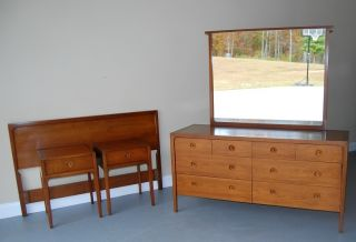 Mid Century Solid Cherry 5 Piece Bedroom Set By Point Drexel photo
