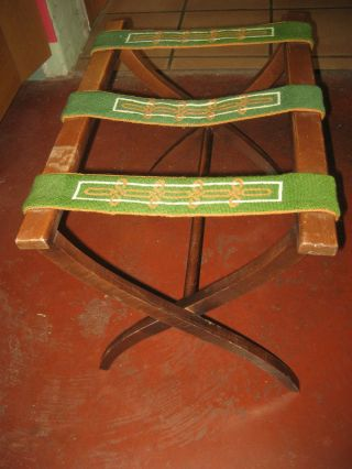 Luggage Rack Wood Folding Vintage Antique Enbroiderded 3 Straps Green Gold White photo