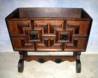 Vtg Antique Style Gothic Mission Oak Cradle Chest Trunk Trough Planter Box Doll photo
