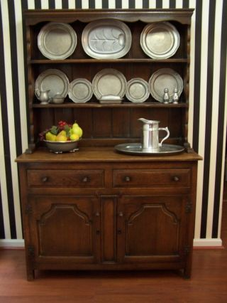English Oak Welsh Dresser Cabinet Plate Rack Hutch photo