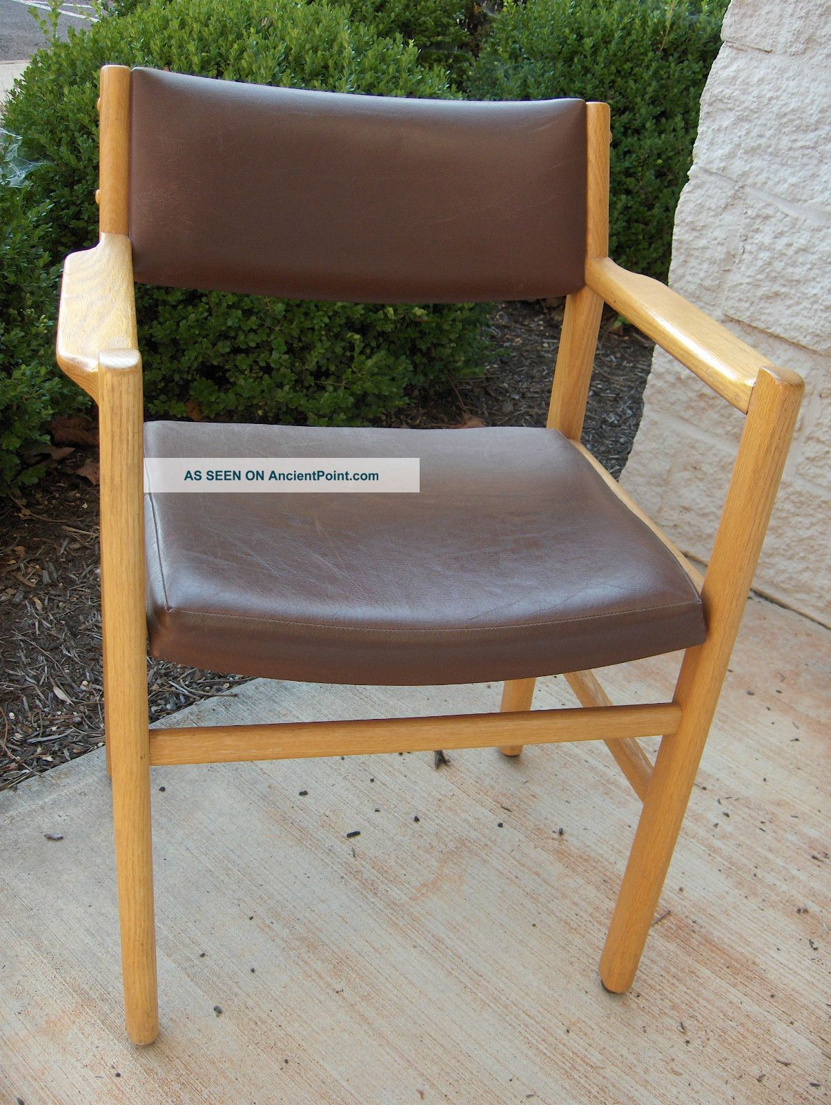 Vintage Thonet Usa Made Oak Arm Chair Brown Leather Two Available Post-1950 photo