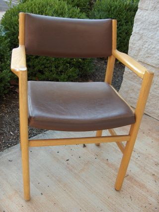 Vintage Thonet Usa Made Oak Arm Chair Brown Leather Two Available photo