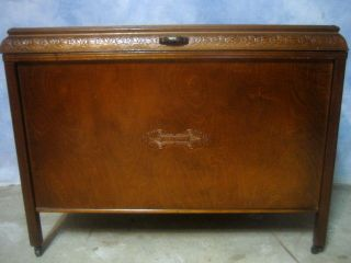 Antique Golden Tiger Oak Art Deco Carved Blanket Quilt Hope Chest Trunk On Legs photo