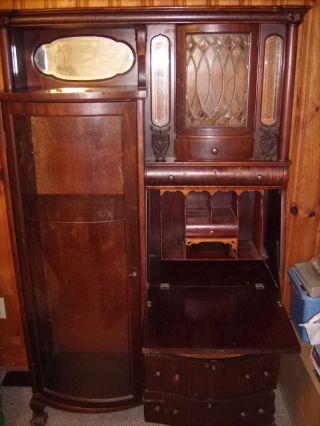 Lovely Glass Curio Cabinet With Secretary Desk Built Inside photo