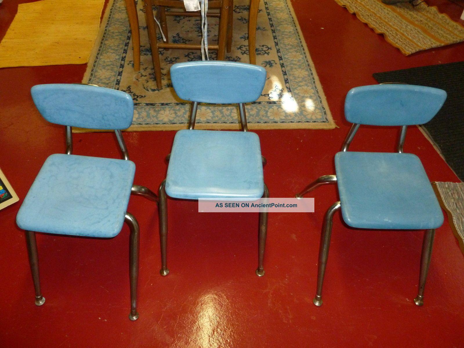 Vintage Mid Century Modern Virco Childrens Chairs - Hard Plastic W Chrome 3 Post-1950 photo