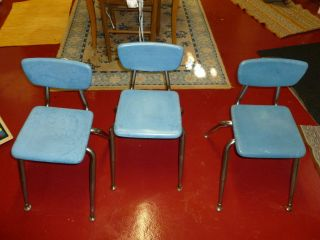 Vintage Mid Century Modern Virco Childrens Chairs - Hard Plastic W Chrome 3 photo