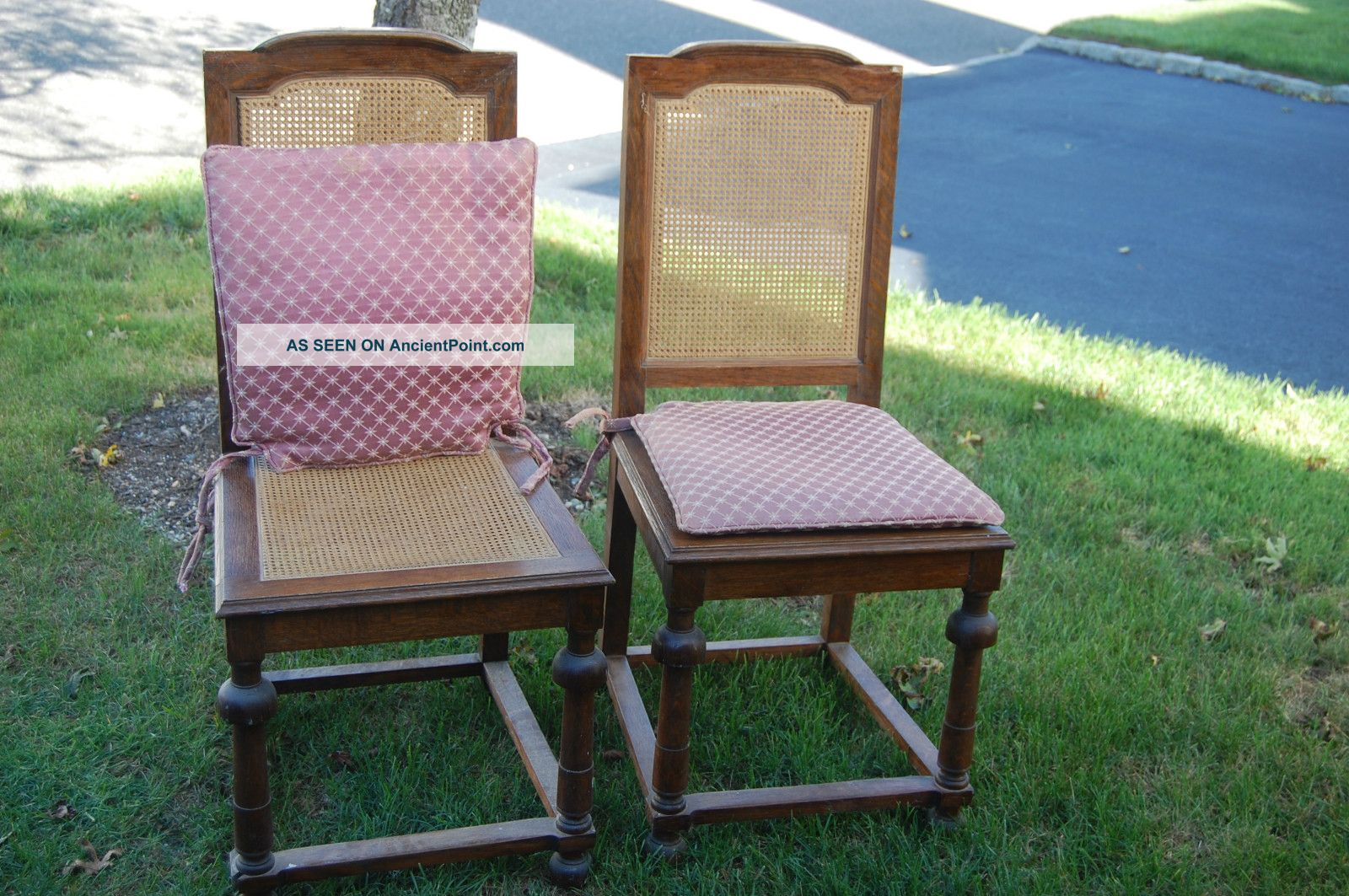 (2) Caned Chairs With Cushions Post-1950 photo