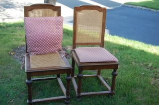 (2) Caned Chairs With Cushions photo