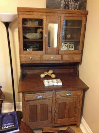 Antique Primative Oak Hutch/china Cabinet/dining Room Furniture photo