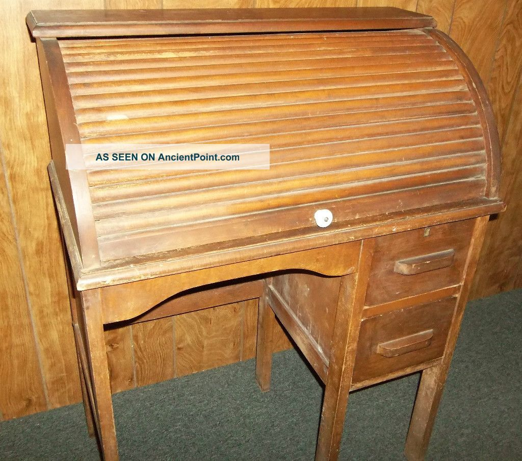 Vintage Youth Roll Top Desk W\ 2 Drawers Roll Top Works Smoothly Great Gift. 1900-1950 photo