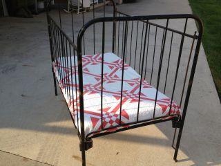 Antique Iron Baby Bed Doll Crib Bassinet Display Child Vintage Mattress & Sheets photo