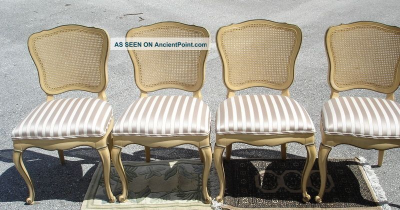 Set Of 4 Antique Louis Xvi Cane Back Dining Chairs Chair Dixon Powdermaker Usa Post-1950 photo